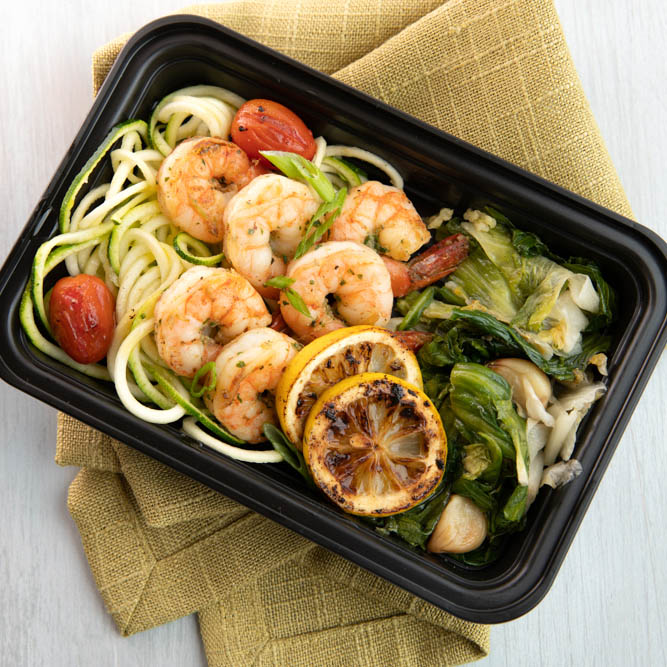 Sauteed Shrimp 'n Scallions.  Served over Spiralized Zucchini & Cherry Tomatoes and sided with Collard Greens