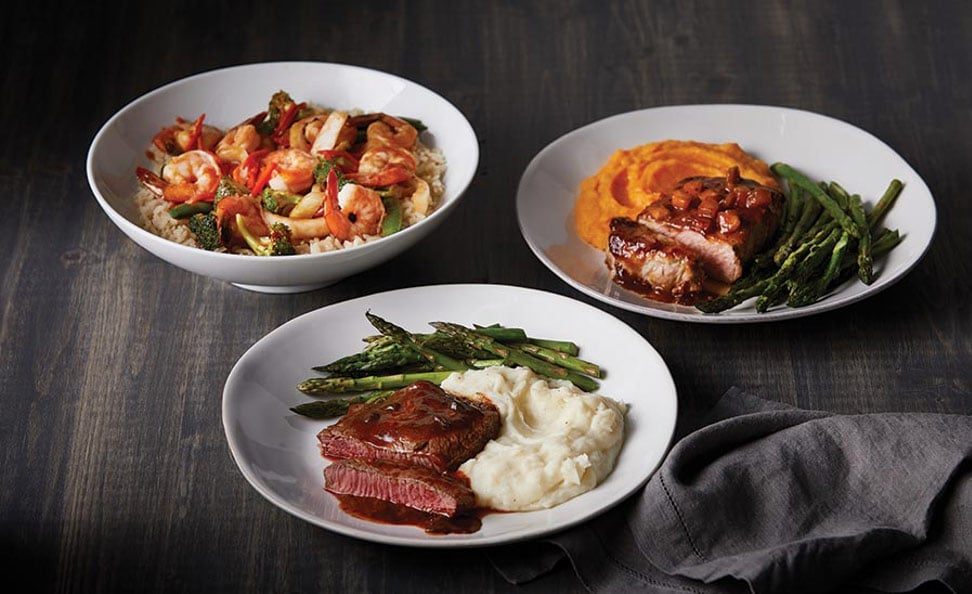 Three plates of delicious, healthy meals that can help in maintaining a healthy diet during COVID-19.